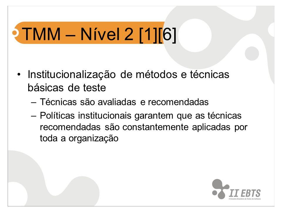 TMM – Nível 2 [1][6] Institucionalização de métodos e técnicas básicas de teste. Técnicas são avaliadas e recomendadas.